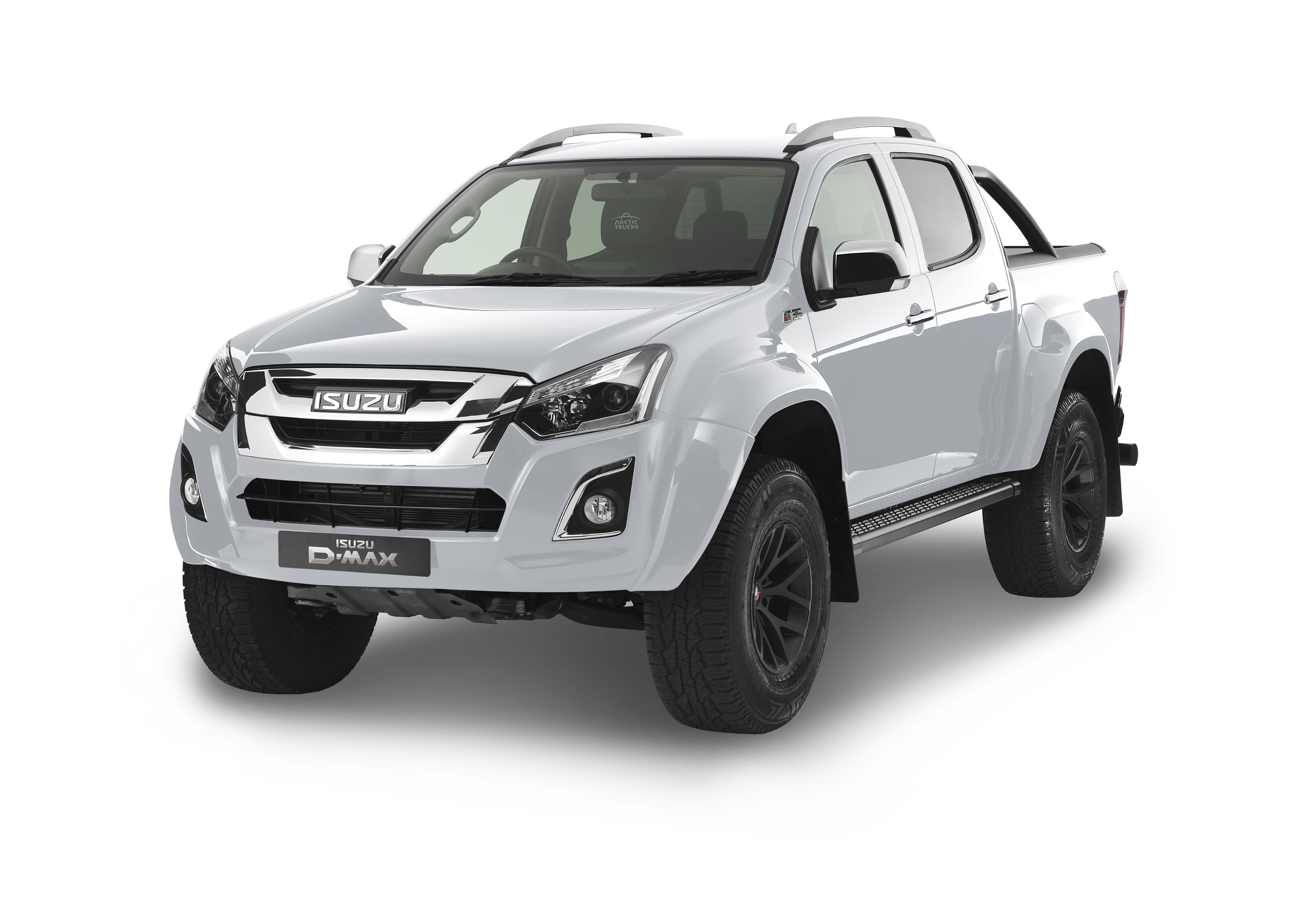 Front view of the Isuzu D-Max Arctic AT35 in white