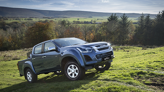 The Isuzu D-Max Eiger on a steep field