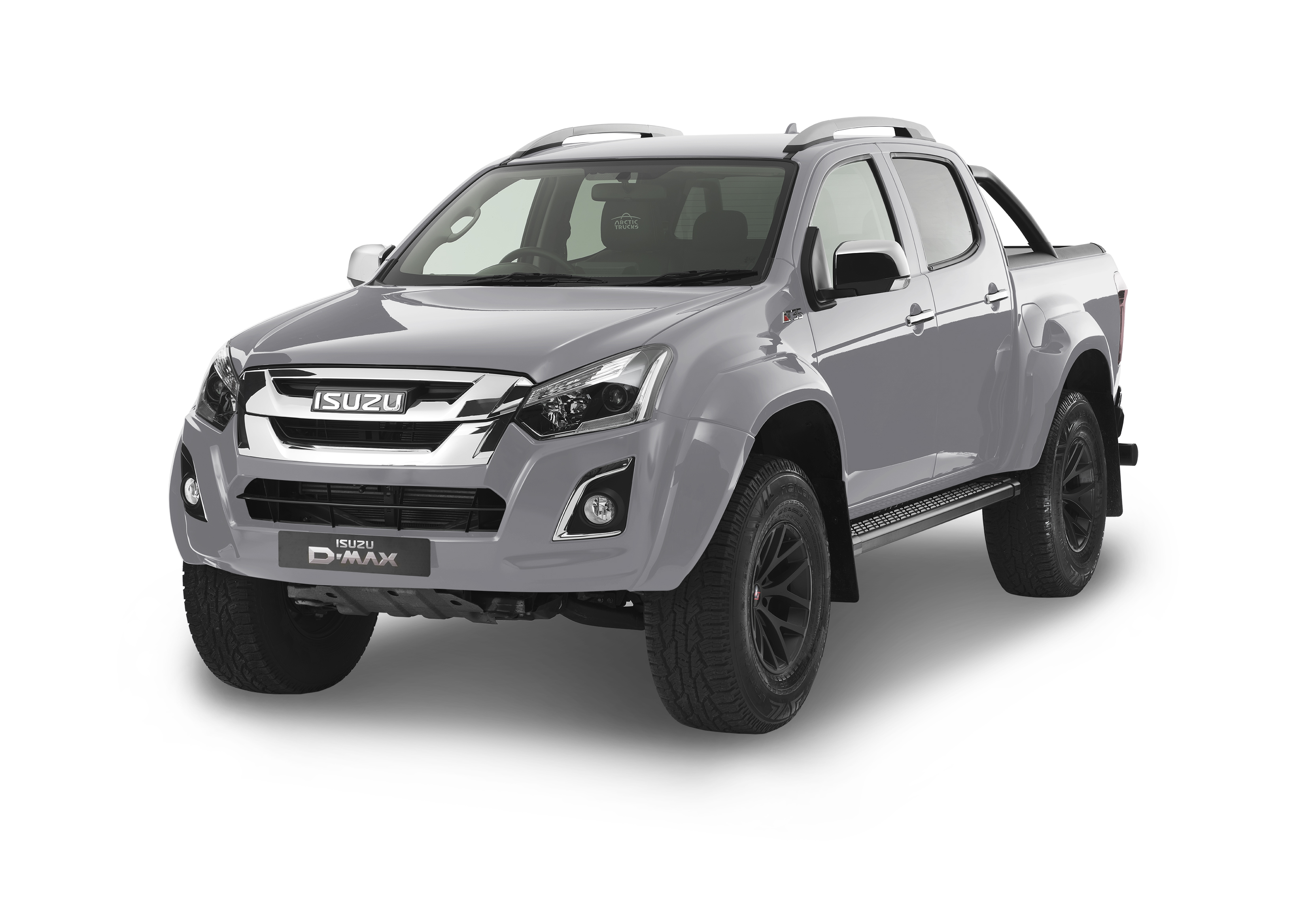Front view of the Isuzu D-Max Arctic AT35 in silver