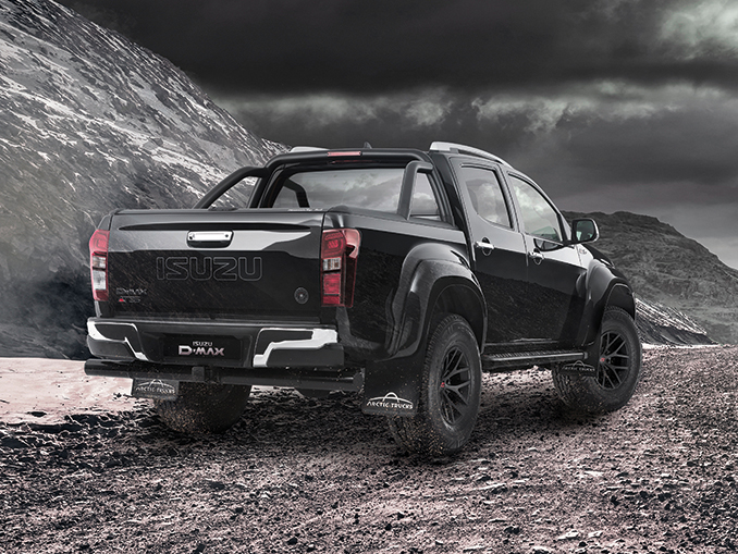 Rear view of the Isuzu D-Max Arctic AT35 in cosmic black