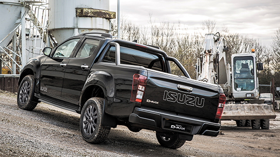 Rear view of the Isuzu D-Max Blade on construction site