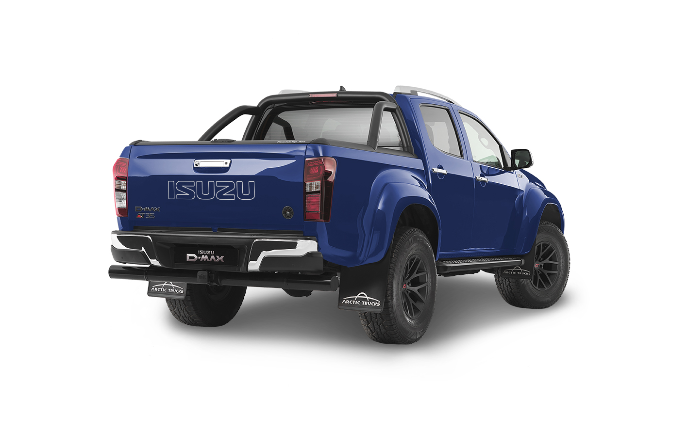 Rear view of the Isuzu D-Max Arctic AT35 in blue