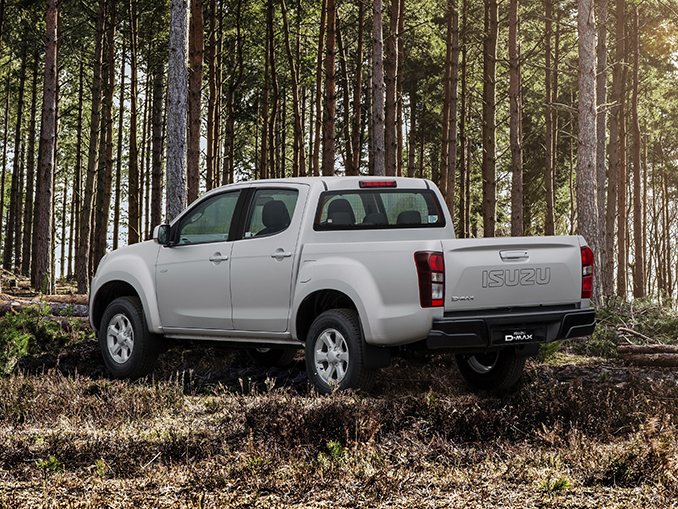 Isuzu D-Max Eiger rear view in forest