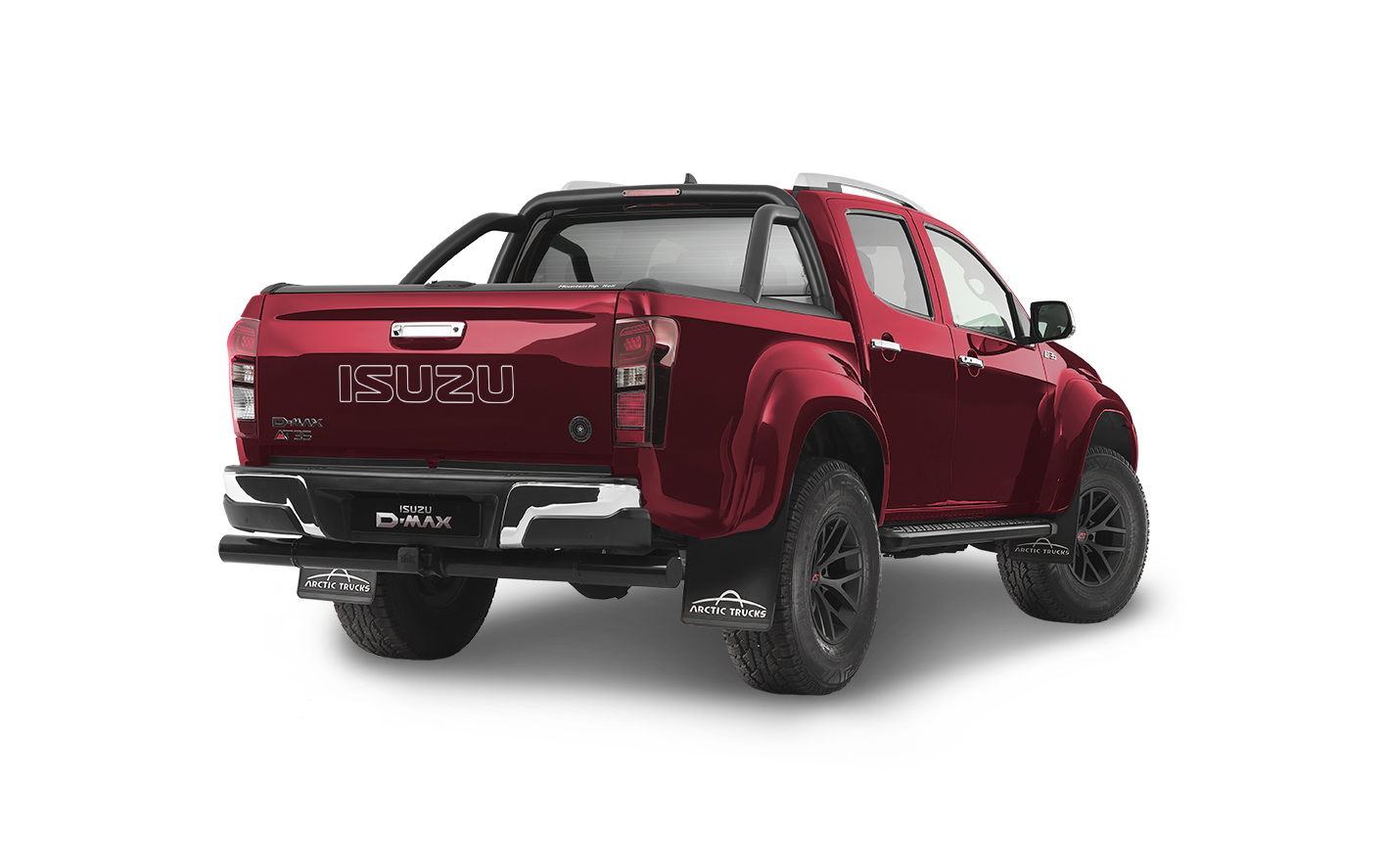 Rear view of the Isuzu D-Max Arctic AT35 in red