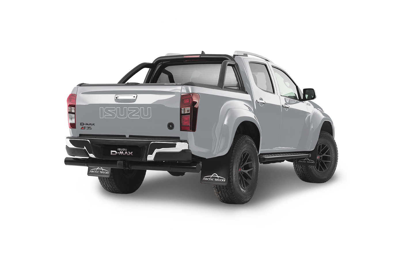 Rear view of the Isuzu D-Max Arctic AT35 in silver