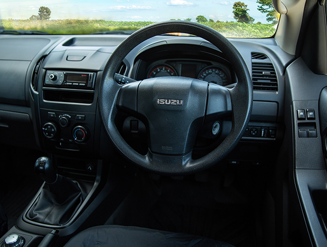 Interior features of the Isuzu D-Max Utility Extended Cab Tipper Conversion