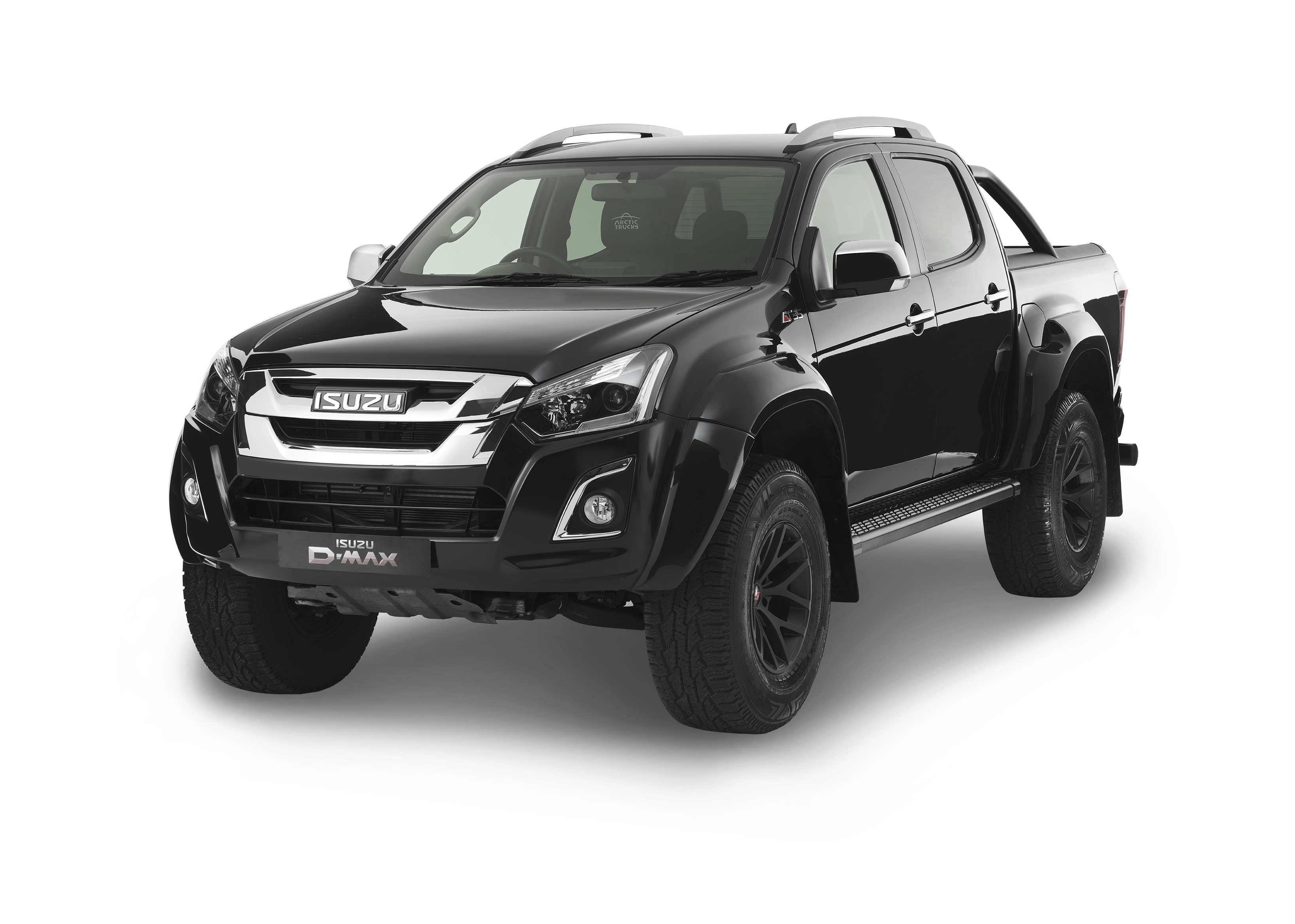 Front view of the Isuzu D-Max Arctic AT35 in cosmic black
