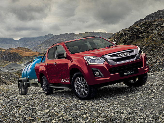 Isuzu D-Max Blade in red in a quarry
