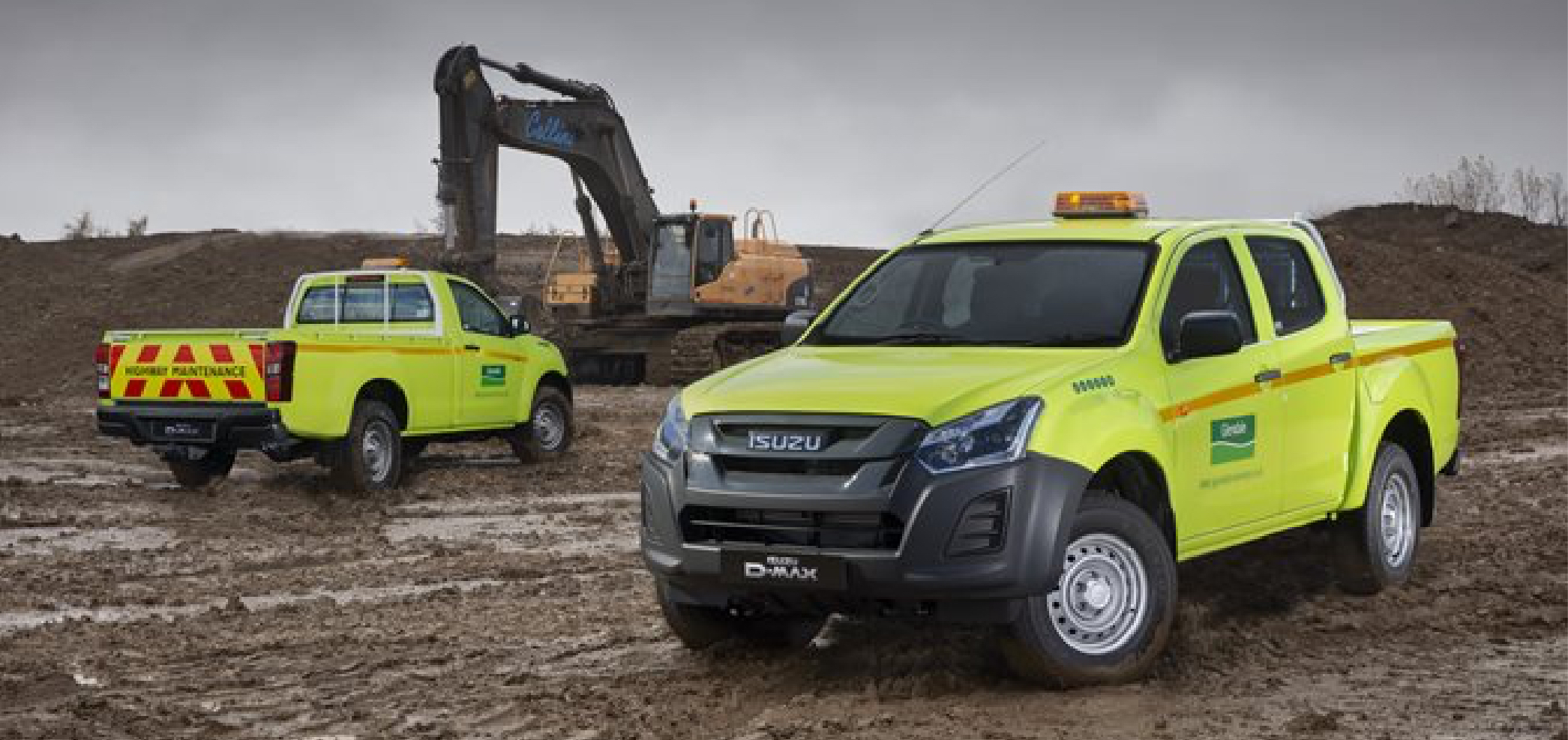 Isuzu D Max fleet on construction site