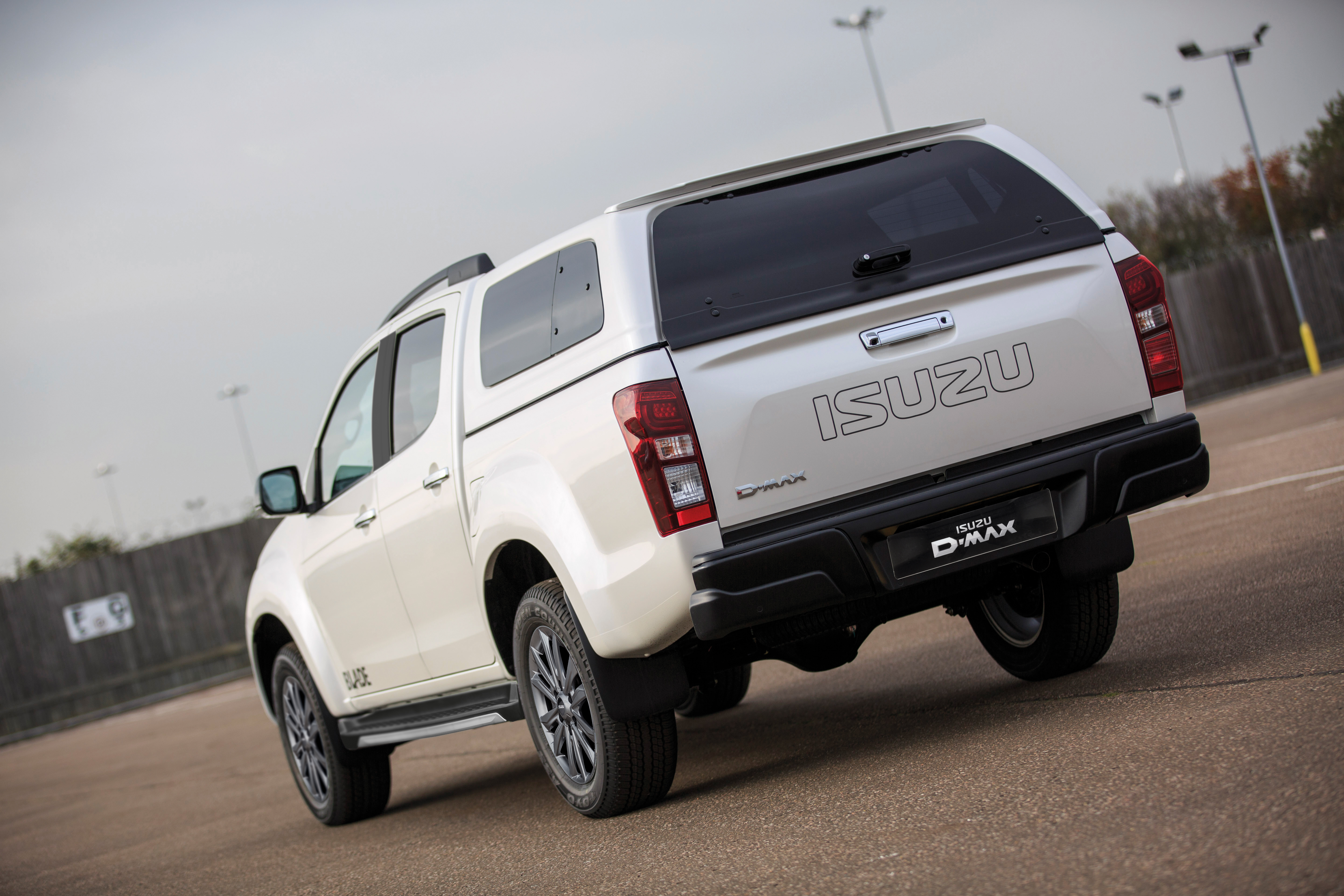 Rear view of the Isuzu D-Max Blade in white