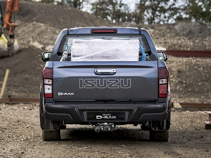 Isuzu D-Max Eiger rear view on building site