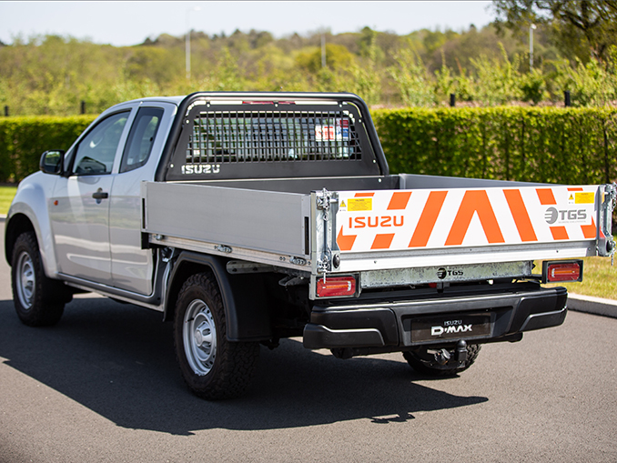Isuzu D-Max Utility Extended Cab Tipper Conversion rear view on road