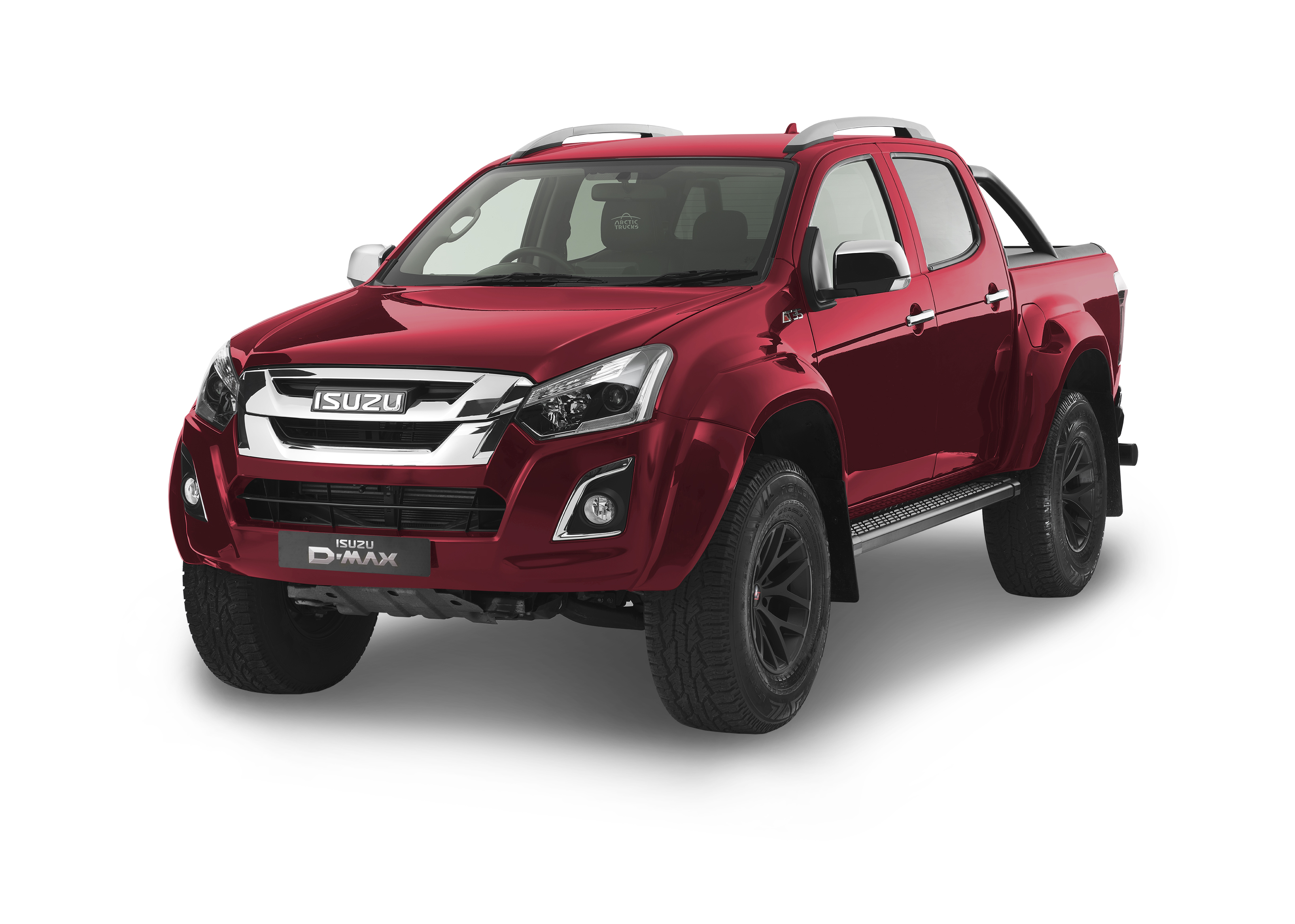 Front view of the Isuzu D-Max Arctic AT35 in red