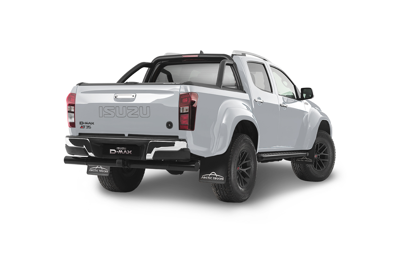 Rear view of the Isuzu D-Max Arctic AT35 in white