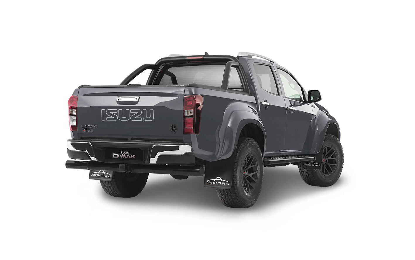 Rear view of the Isuzu D-Max Arctic AT35 in grey
